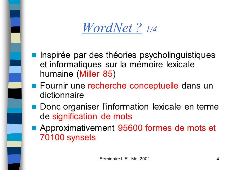 Séminaire LIR - Mai 20014 WordNet ? 1/4 Inspirée par des théories psycholinguistiques et informatiques sur la mémoire lexicale humaine (Miller 85) Fou