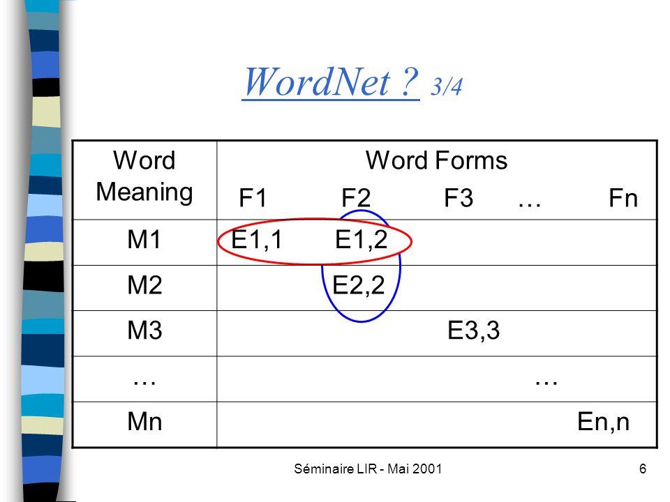 Séminaire LIR - Mai 20016 WordNet ? 3/4 Word Meaning Word Forms F1 F2 F3 … Fn M1 E1,1 E1,2 M2 E2,2 M3 E3,3 … … Mn En,n
