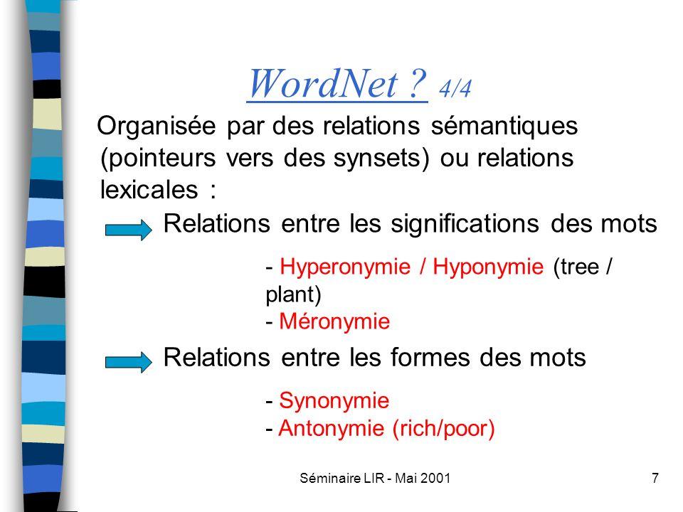 Séminaire LIR - Mai 20017 WordNet ? 4/4 Organisée par des relations sémantiques (pointeurs vers des synsets) ou relations lexicales : Relations entre