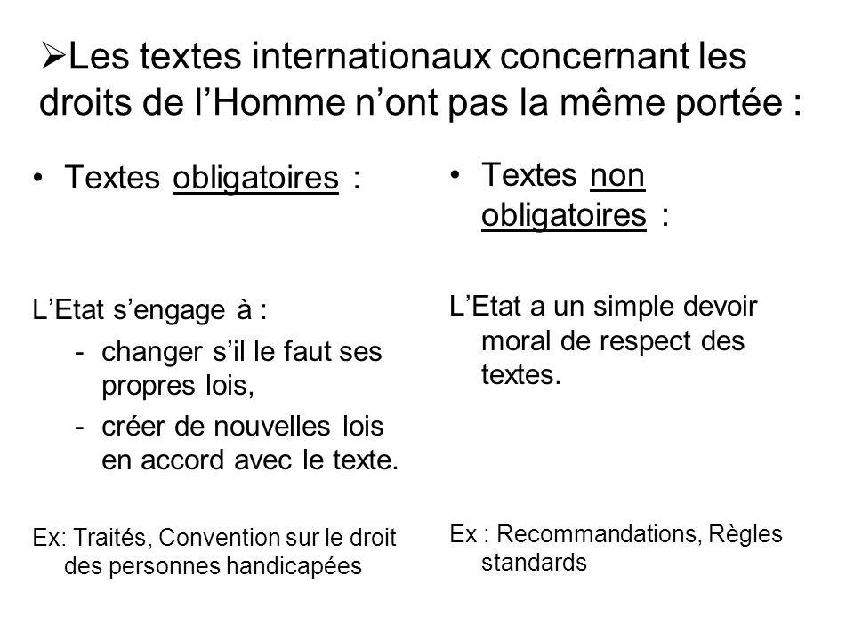 Les textes internationaux concernant les droits de lHomme nont pas la même portée : Textes obligatoires : LEtat sengage à : -changer sil le faut ses propres lois, -créer de nouvelles lois en accord avec le texte.