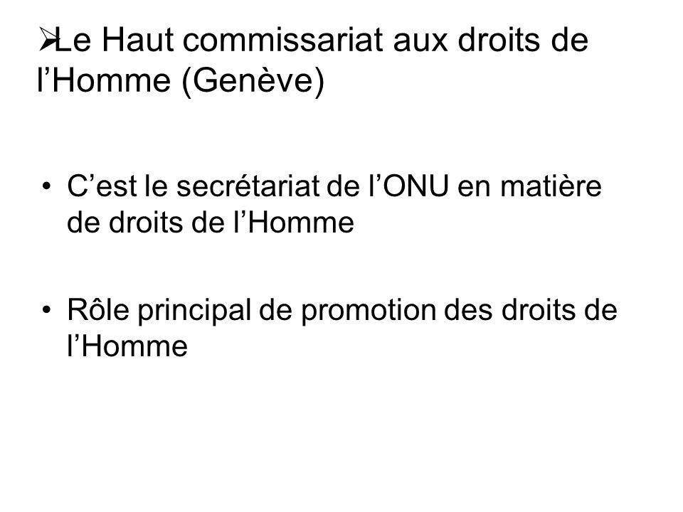 Le Haut commissariat aux droits de lHomme (Genève) Cest le secrétariat de lONU en matière de droits de lHomme Rôle principal de promotion des droits de lHomme