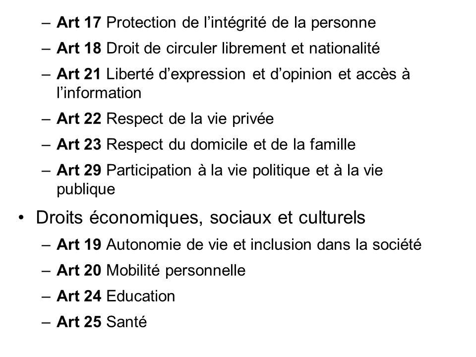–Art 17 Protection de lintégrité de la personne –Art 18 Droit de circuler librement et nationalité –Art 21 Liberté dexpression et dopinion et accès à