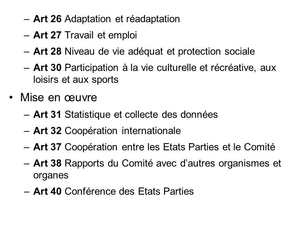 –Art 26 Adaptation et réadaptation –Art 27 Travail et emploi –Art 28 Niveau de vie adéquat et protection sociale –Art 30 Participation à la vie cultur