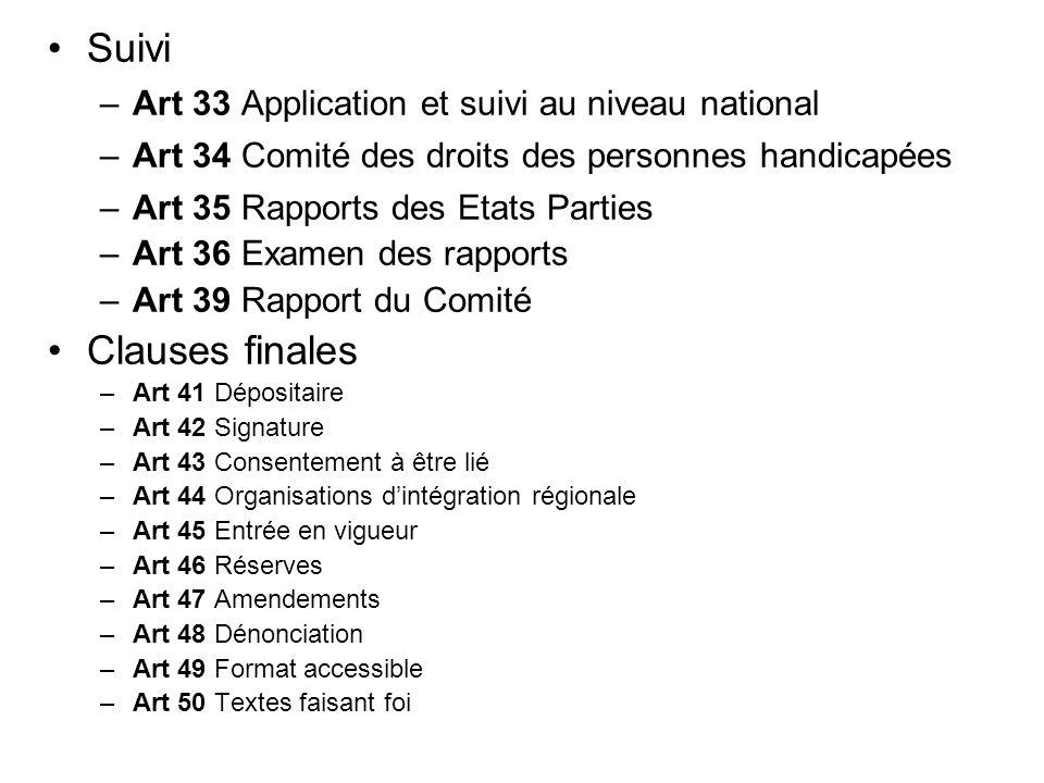 Suivi –Art 33 Application et suivi au niveau national –Art 34 Comité des droits des personnes handicapées –Art 35 Rapports des Etats Parties –Art 36 E