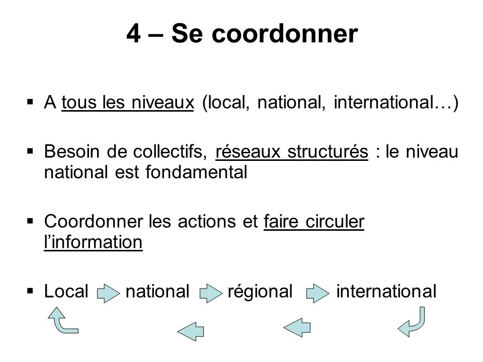 4 – Se coordonner A tous les niveaux (local, national, international…) Besoin de collectifs, réseaux structurés : le niveau national est fondamental Coordonner les actions et faire circuler linformation Local national régional international