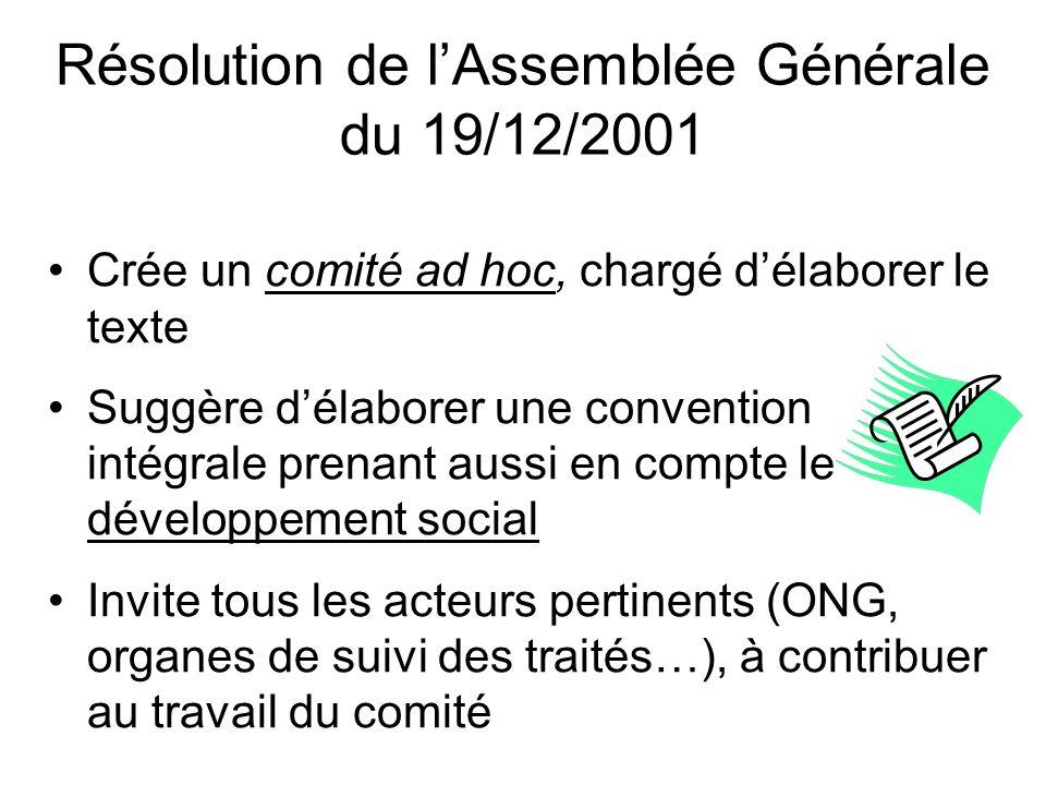 Résolution de lAssemblée Générale du 19/12/2001 Crée un comité ad hoc, chargé délaborer le texte Suggère délaborer une convention intégrale prenant au