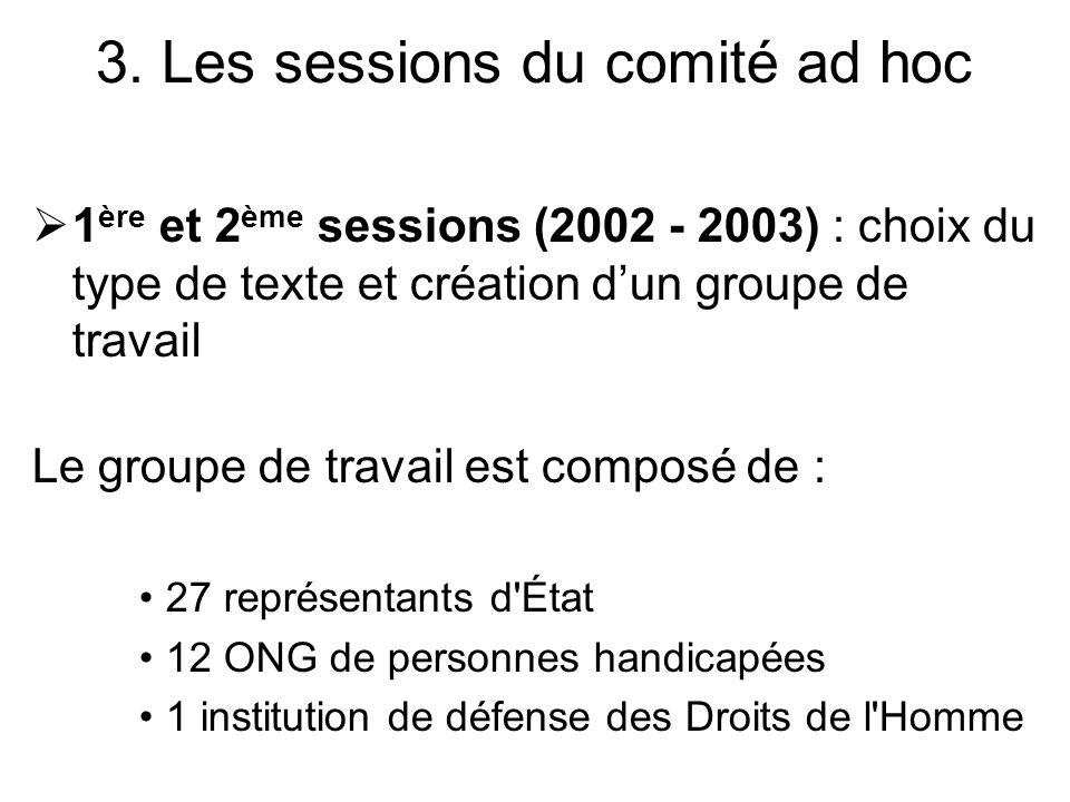 1 ère et 2 ème sessions (2002 - 2003) : choix du type de texte et création dun groupe de travail Le groupe de travail est composé de : 27 représentant