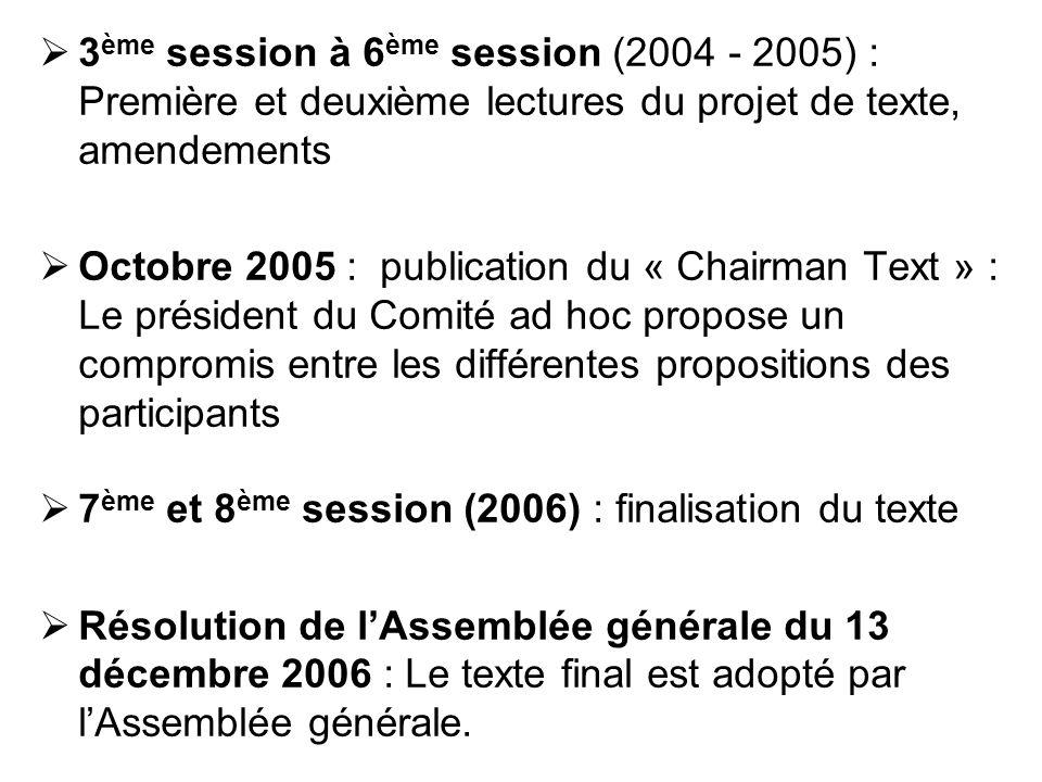 3 ème session à 6 ème session (2004 - 2005) : Première et deuxième lectures du projet de texte, amendements Octobre 2005 : publication du « Chairman T