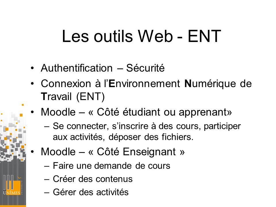 Les outils Web - ENT Authentification – Sécurité Connexion à lEnvironnement Numérique de Travail (ENT) Moodle – « Côté étudiant ou apprenant» –Se conn