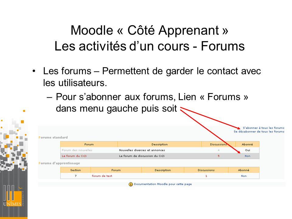 Moodle « Côté Apprenant » Les activités dun cours - Forums Les forums – Permettent de garder le contact avec les utilisateurs. –Pour sabonner aux foru