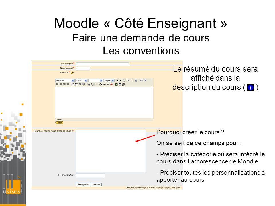 Moodle « Côté Enseignant » Faire une demande de cours Les conventions Le résumé du cours sera affiché dans la description du cours ( ) Pourquoi créer
