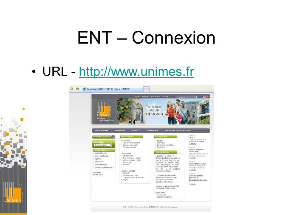 ENT – Connexion URL - http://www.unimes.frhttp://www.unimes.fr