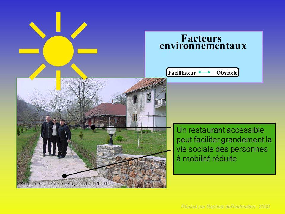 Réalisé par Raphaël deRiedmatten - 2002 Facteurs environnementaux Facilitateur Obstacle Un environnement hostile peut être un élément déterminant du p