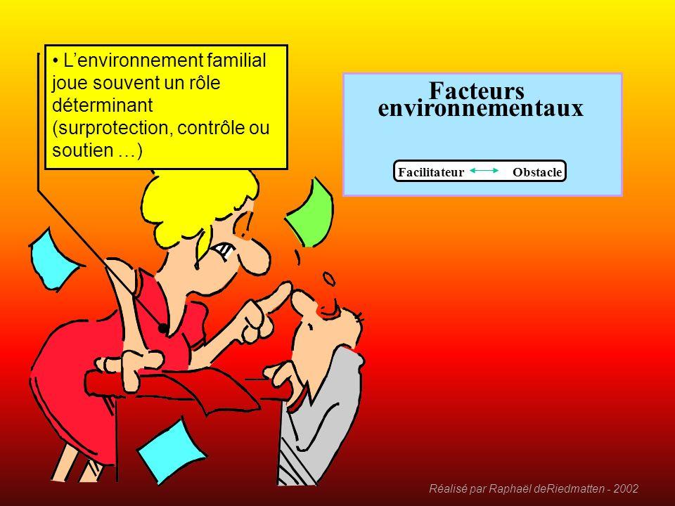 Réalisé par Raphaël deRiedmatten - 2002 Facteurs environnementaux Facilitateur Obstacle Une famille est un facilitateur majeur Shtimë, Kosovo, 11.04.0