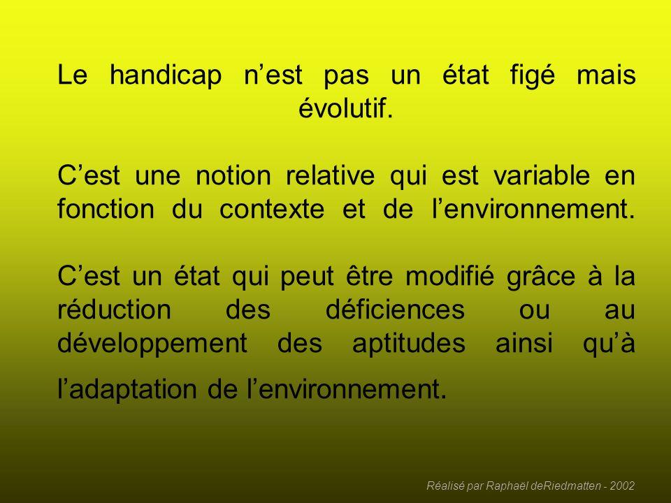 Réalisé par Raphaël deRiedmatten - 2002 Les habitudes de vie 1 - Nutrition 2 - Condition corporelle 3 - Soins personnels 4 - Communication 5 - Habitat