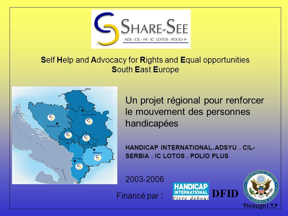 Localisation Les activités développées dans le cadre du projet sont mis en oeuvre en : Albanie Bosnie Herzégovine Macedoine Serbie Montenegro Kosovo Le bureau central de SHARE SEE est situé à Skopje, Macedoine.