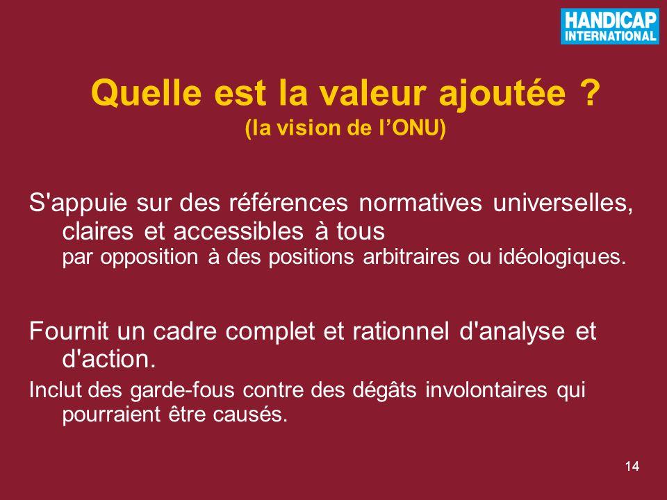 14 S appuie sur des références normatives universelles, claires et accessibles à tous par opposition à des positions arbitraires ou idéologiques.