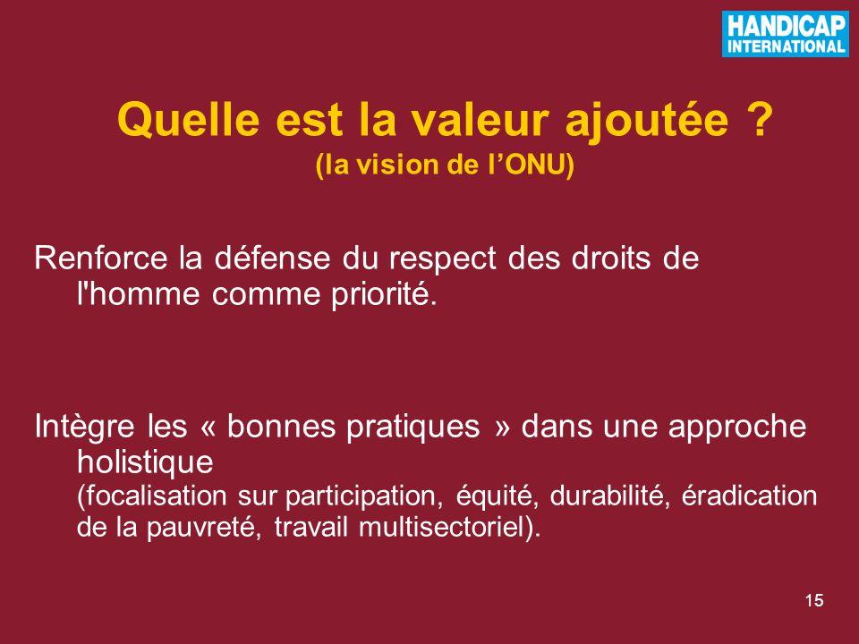 15 Renforce la défense du respect des droits de l homme comme priorité.