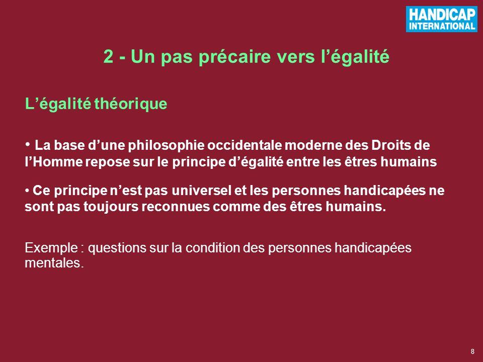 18 Le handicap considéré comme une question des Droits Humains : –égalisation des chances –accès aux mêmes droits pour tous –sans discrimination.