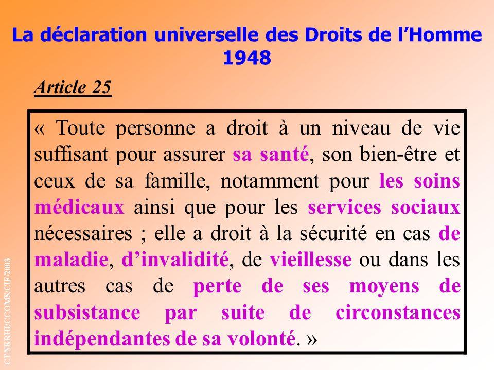 La déclaration universelle des Droits de lHomme 1948 Article 25 « Toute personne a droit à un niveau de vie suffisant pour assurer sa santé, son bien-