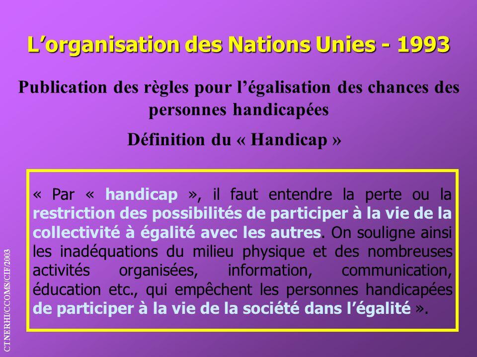 Lorganisation des Nations Unies - 1993 Définition du « Handicap » Publication des règles pour légalisation des chances des personnes handicapées « Par