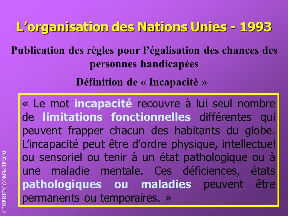 Lorganisation des Nations Unies - 1993 Définition de « Incapacité » Publication des règles pour légalisation des chances des personnes handicapées CTN