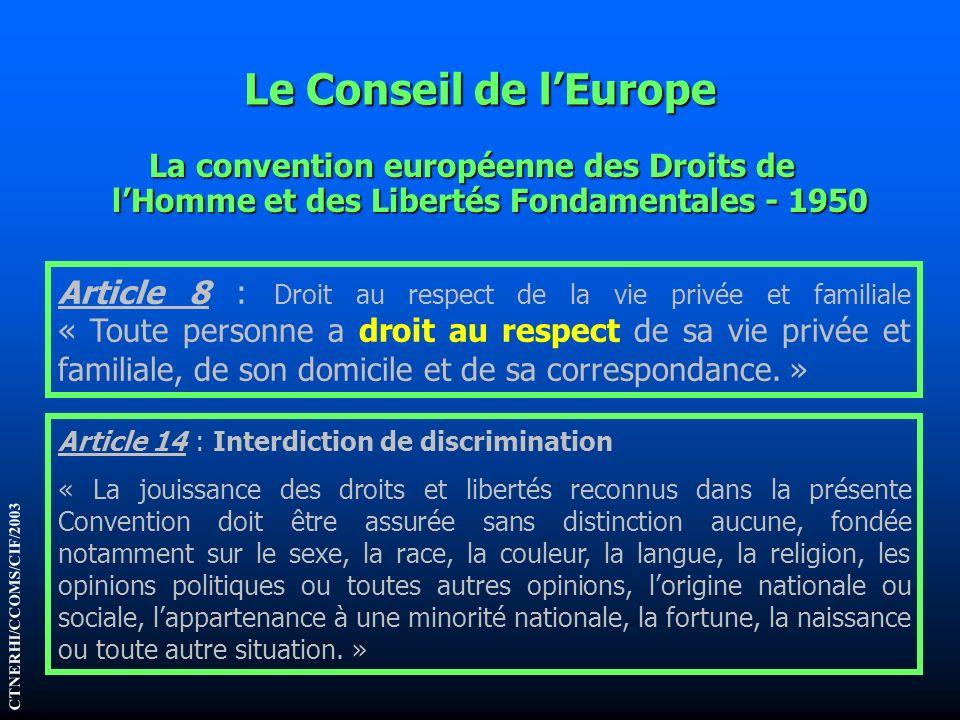 Le Conseil de lEurope La convention européenne des Droits de lHomme et des Libertés Fondamentales - 1950 Article 8 : Droit au respect de la vie privée