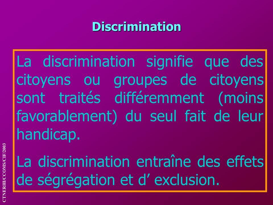 Discrimination La discrimination signifie que des citoyens ou groupes de citoyens sont traités différemment (moins favorablement) du seul fait de leur