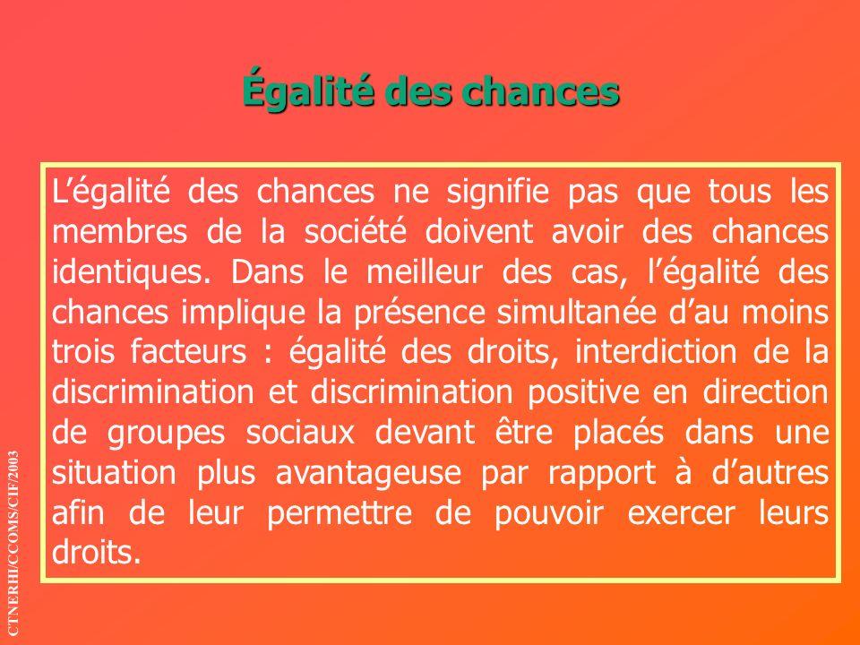 Égalité des chances Légalité des chances ne signifie pas que tous les membres de la société doivent avoir des chances identiques. Dans le meilleur des