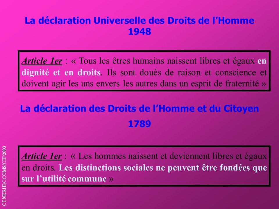 La déclaration Universelle des Droits de lHomme 1948 La déclaration des Droits de lHomme et du Citoyen 1789 Article 1er : « Tous les êtres humains nai