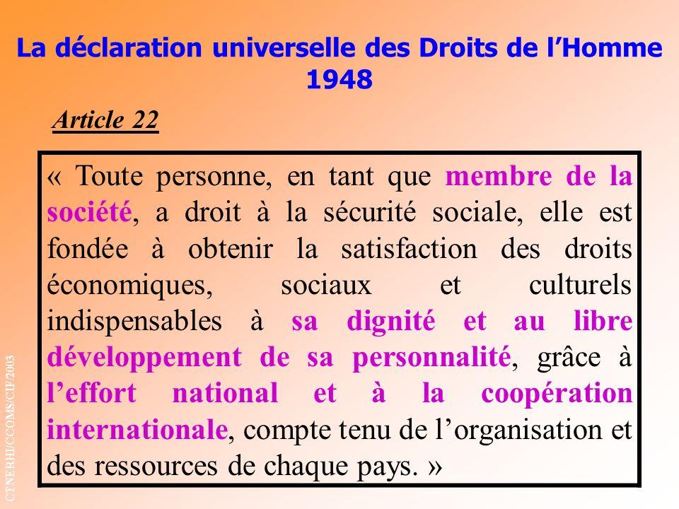 La déclaration universelle des Droits de lHomme 1948 « Toute personne, en tant que membre de la société, a droit à la sécurité sociale, elle est fondé