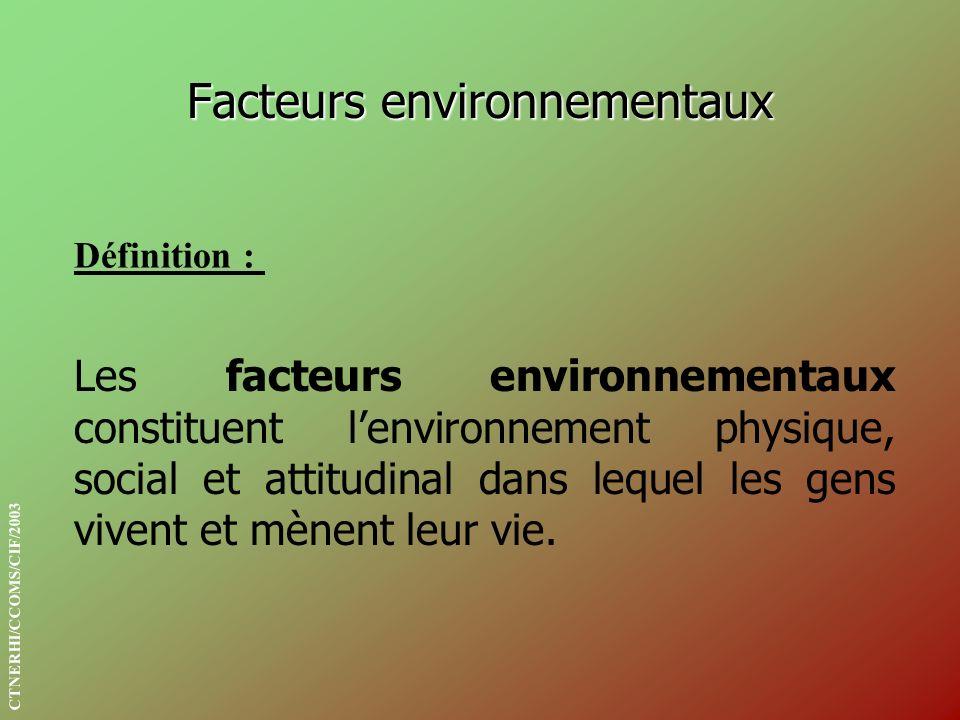 Facteurs environnementaux Définition : Les facteurs environnementaux constituent lenvironnement physique, social et attitudinal dans lequel les gens v