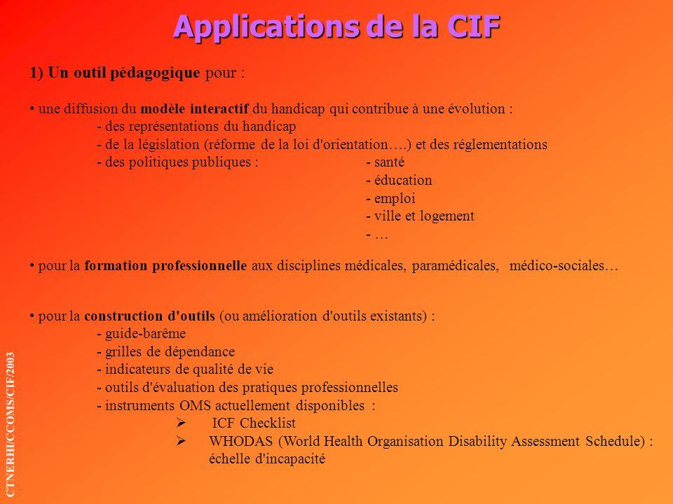 Applications de la CIF CTNERHI/CCOMS/CIF/2003 1) Un outil pédagogique pour : une diffusion du modèle interactif du handicap qui contribue à une évolut