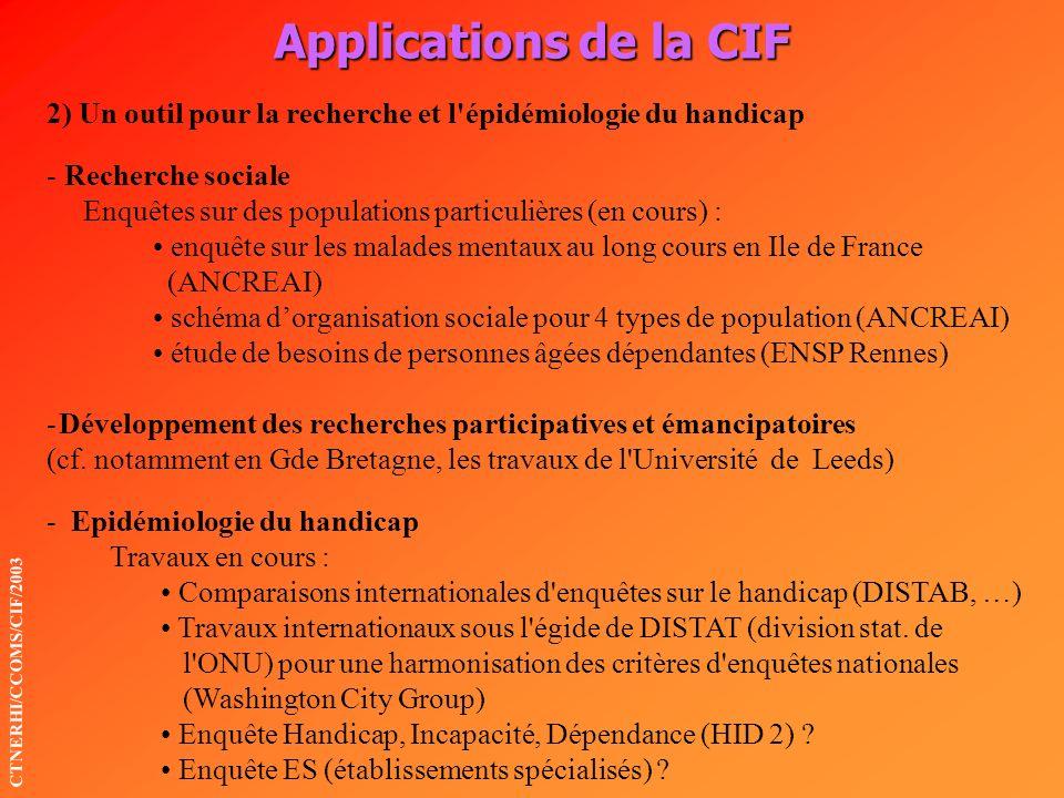 Applications de la CIF CTNERHI/CCOMS/CIF/2003 2) Un outil pour la recherche et l'épidémiologie du handicap - Recherche sociale Enquêtes sur des popula