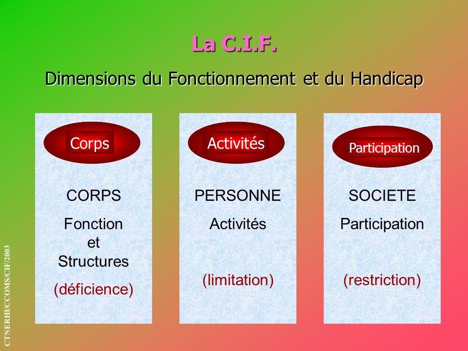 La C.I.F. Dimensions du Fonctionnement et du Handicap SOCIETE Participation (restriction) PERSONNE Activités (limitation) CorpsActivités Participation