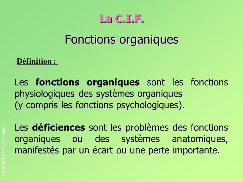 La C.I.F. Fonctions organiques Définition : Les fonctions organiques sont les fonctions physiologiques des systèmes organiques (y compris les fonction