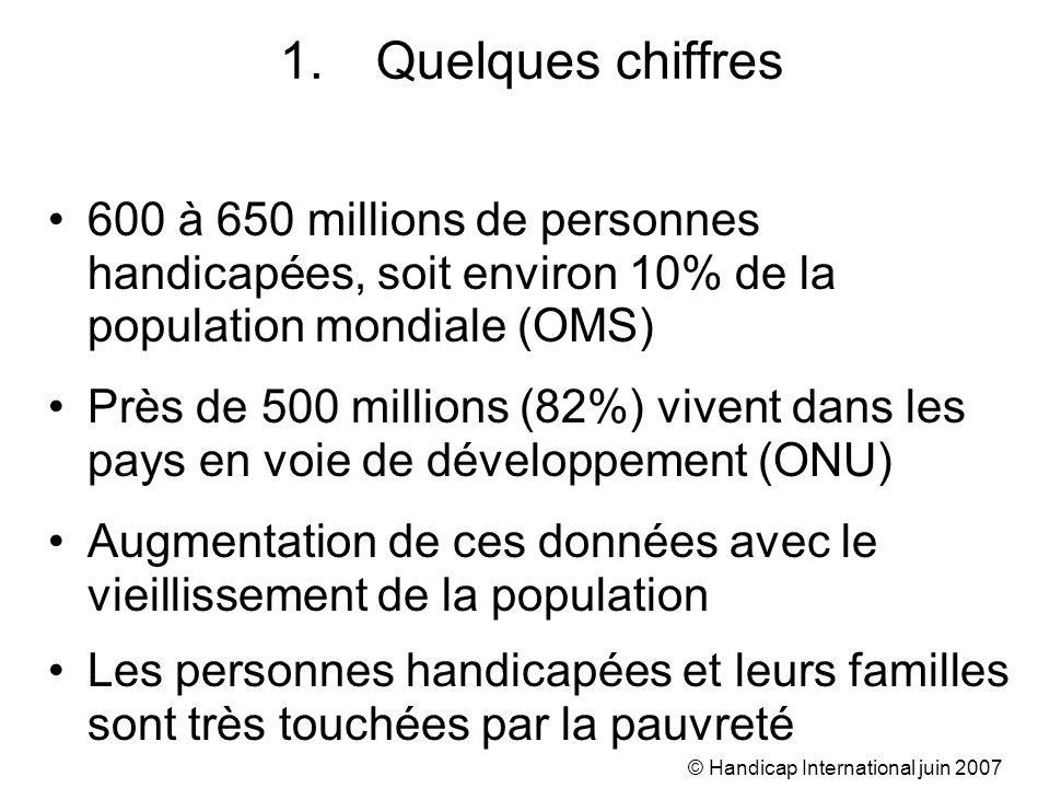 © Handicap International juin 2007 1.Quelques chiffres 600 à 650 millions de personnes handicapées, soit environ 10% de la population mondiale (OMS) P