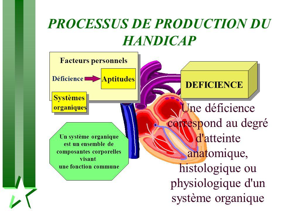 PROCESSUS DE PRODUCTION DU HANDICAP Systèmes organiques Aptitudes Facteurs personnels Un système organique est un ensemble de composantes corporelles