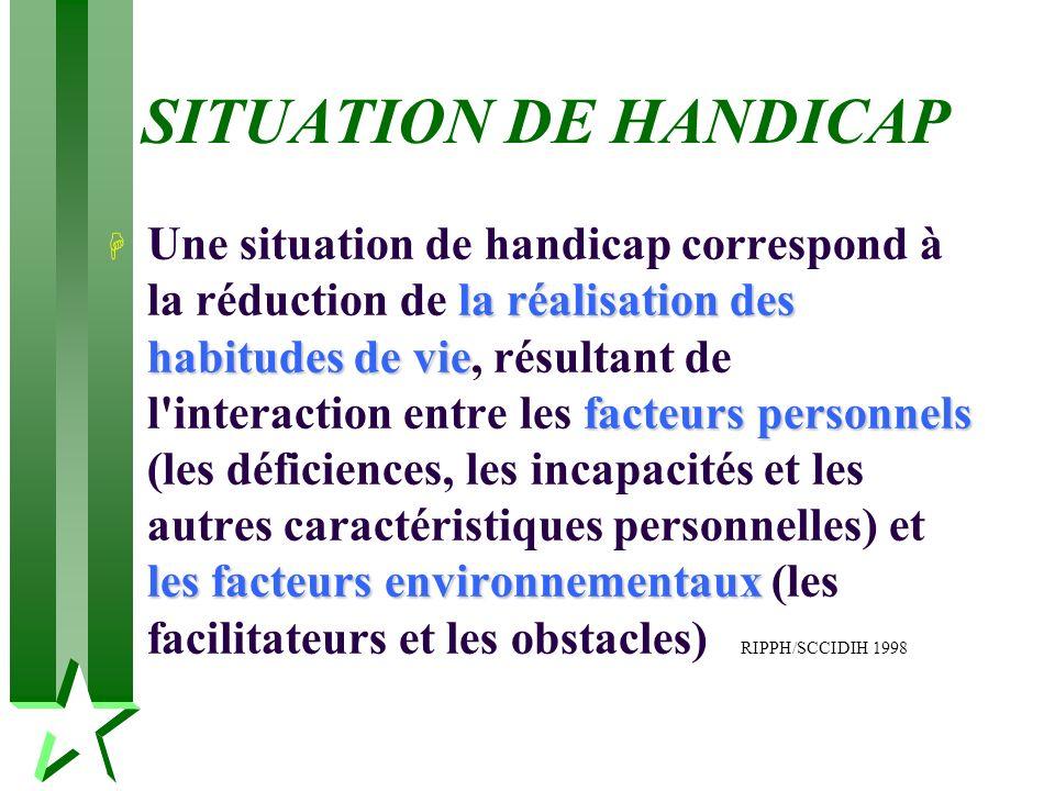 SITUATION DE HANDICAP la réalisation des habitudes de vie facteurs personnels les facteurs environnementaux H Une situation de handicap correspond à l