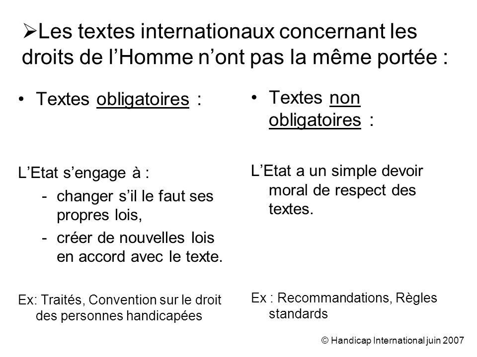 © Handicap International juin 2007 2.Le système onusien de protection des droits de lHomme © C.