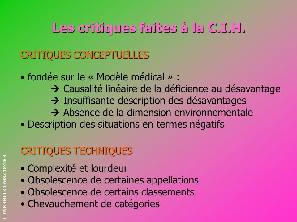 Les critiques faites à la C.I.H. CRITIQUES CONCEPTUELLES CRITIQUES TECHNIQUES fondée sur le « Modèle médical » : Causalité linéaire de la déficience a