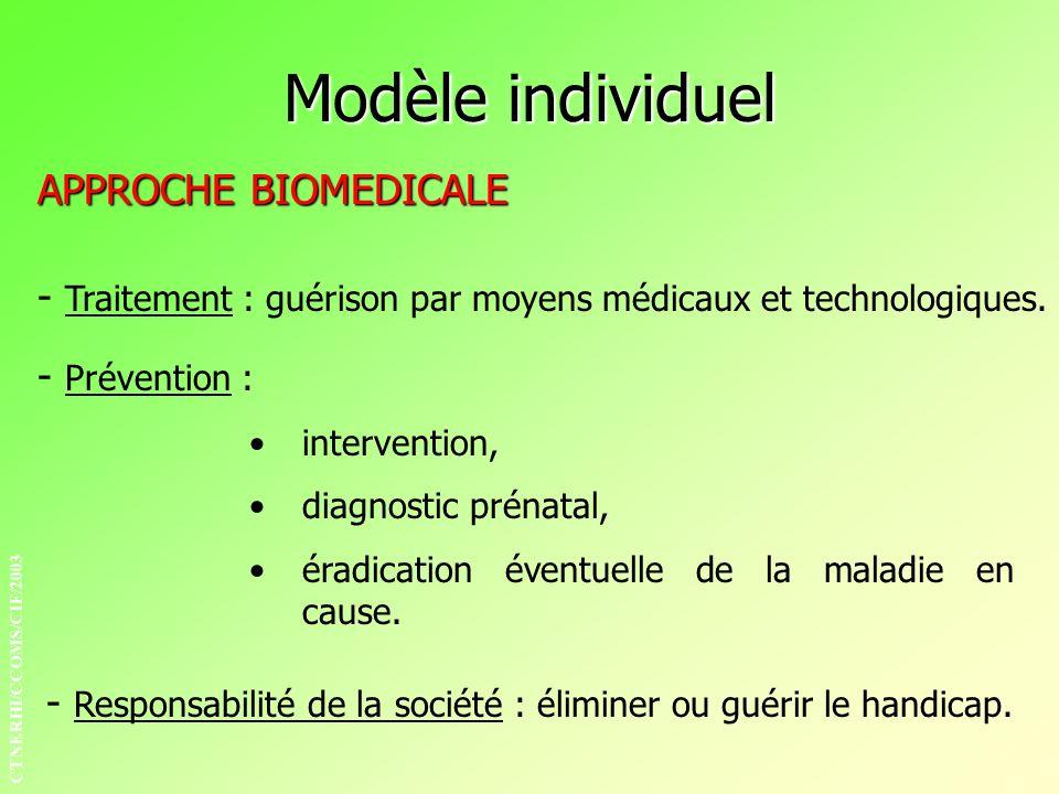 APPROCHE BIOMEDICALE - Traitement : guérison par moyens médicaux et technologiques. - Prévention : intervention, diagnostic prénatal, éradication éven