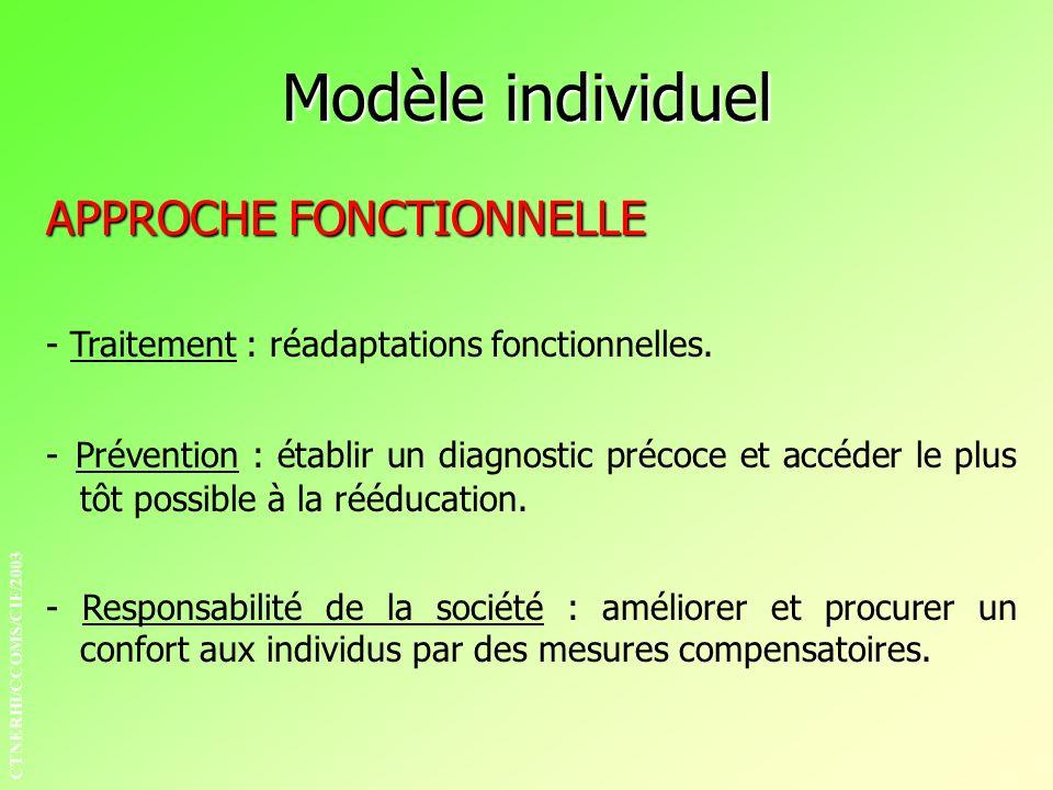 APPROCHE FONCTIONNELLE - Traitement : réadaptations fonctionnelles. - Responsabilité de la société : améliorer et procurer un confort aux individus pa