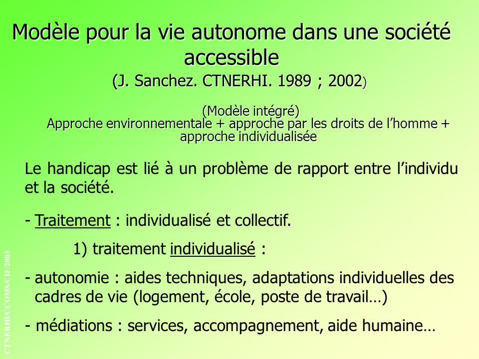 (J. Sanchez. CTNERHI. 1989 ; 2002 ) (Modèle intégré) Approche environnementale + approche par les droits de lhomme + approche individualisée (Modèle i