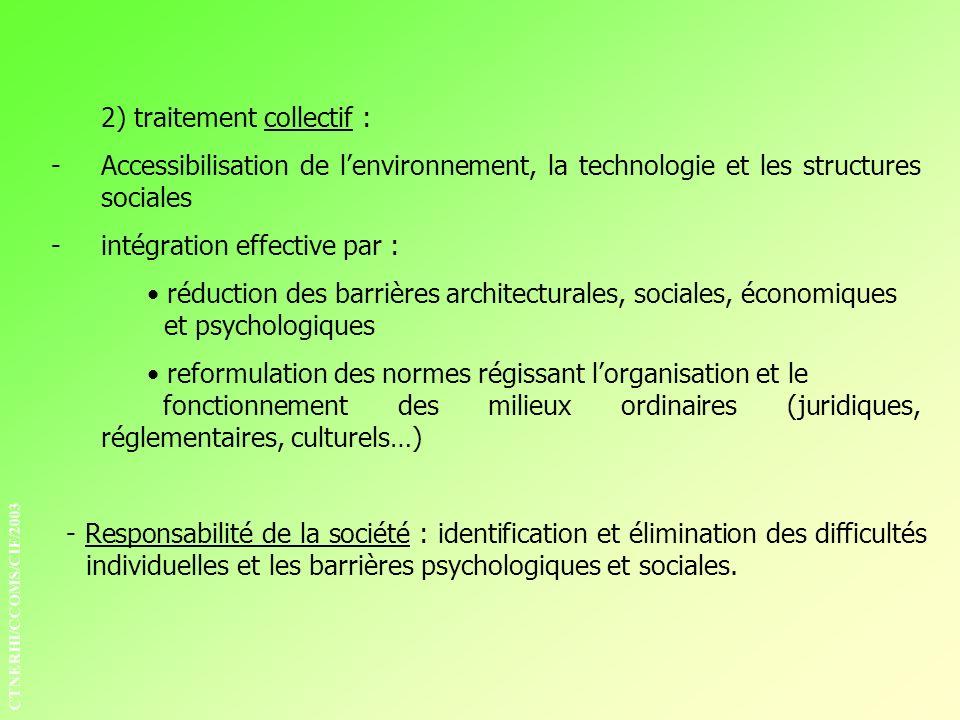 2) traitement collectif : -Accessibilisation de lenvironnement, la technologie et les structures sociales -intégration effective par : réduction des b