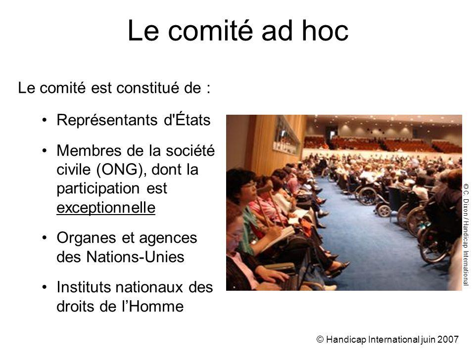 © Handicap International juin 2007 Le comité ad hoc Le comité est constitué de : Représentants d États Membres de la société civile (ONG), dont la participation est exceptionnelle Organes et agences des Nations-Unies Instituts nationaux des droits de lHomme © C.