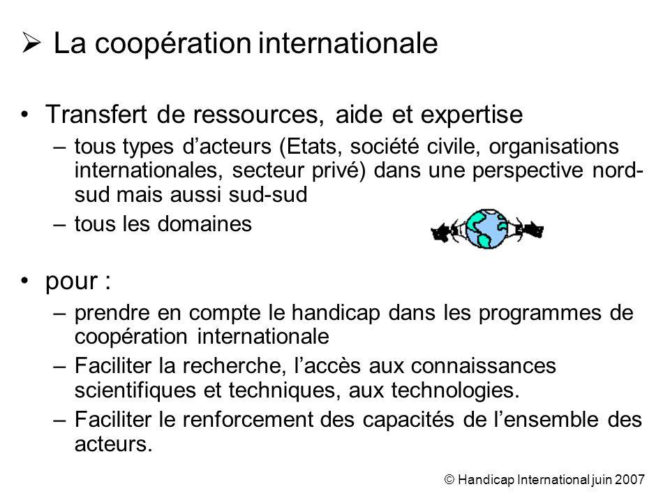 © Handicap International juin 2007 La coopération internationale Transfert de ressources, aide et expertise –tous types dacteurs (Etats, société civil