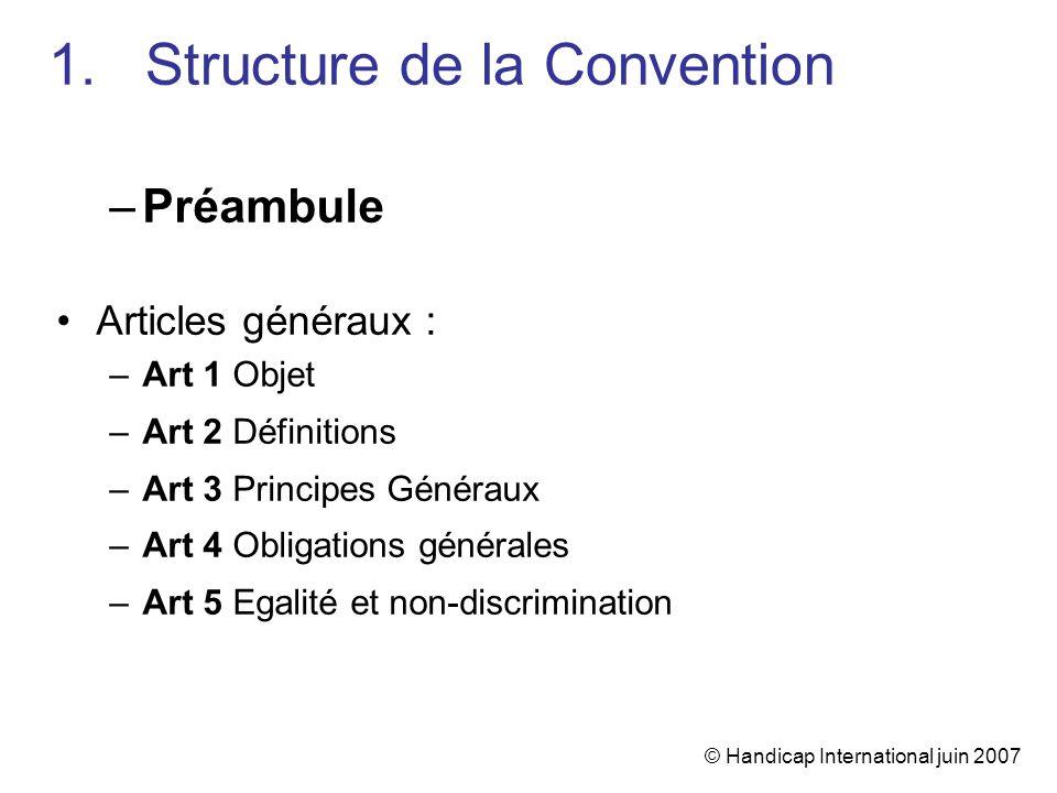 © Handicap International juin 2007 1.Structure de la Convention –Préambule Articles généraux : –Art 1 Objet –Art 2 Définitions –Art 3 Principes Généra