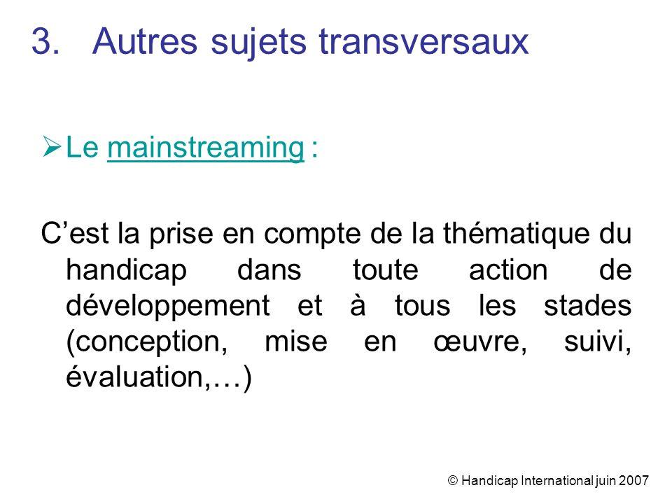 © Handicap International juin 2007 Le mainstreaming : Cest la prise en compte de la thématique du handicap dans toute action de développement et à tou