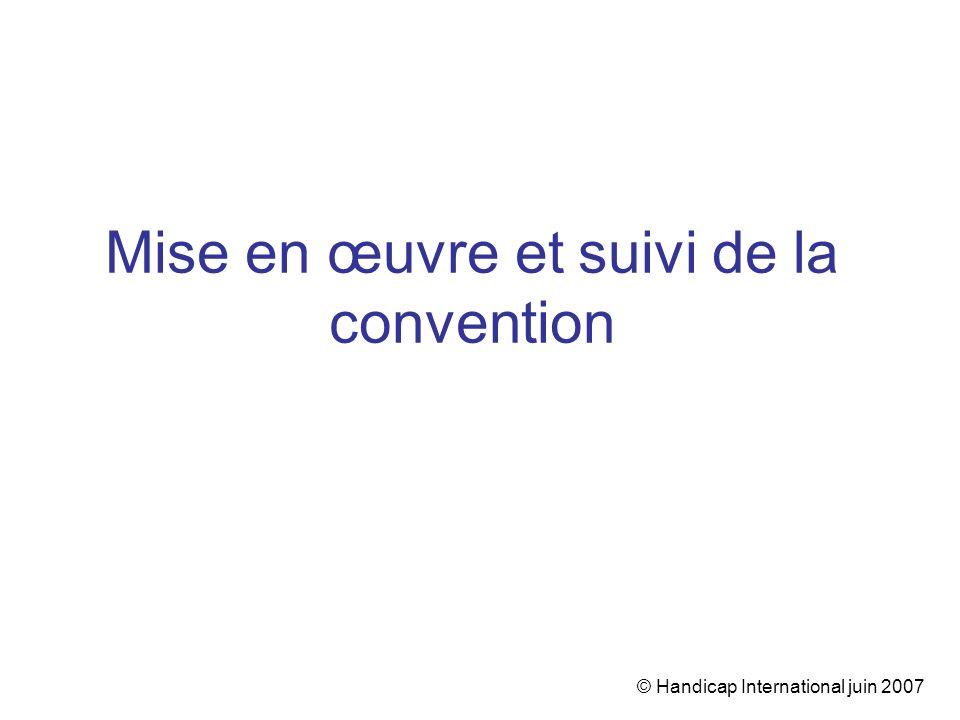 © Handicap International juin 2007 Mise en œuvre et suivi de la convention
